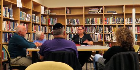 A Jewish group studying text together