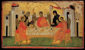 """The Hospitality of Abraham"" 13th c. Byzantine icon"