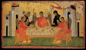 """The Hospitality of Abraham"" 13th c. Byzantine icon"