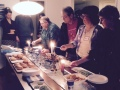 Lighting chanukiot at our Chanukah party.