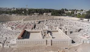 This model of 1st c. Jerusalem, complete with Temple (in the foreground) stands at the Israel Museum in Jerusalem.