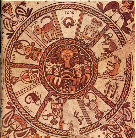 Zodiac mosaic in a 6th century synagogue in Beit-Alpha, Israel.  (Image: maksim)