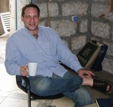 David, enjoying Peet's Coffee in my apartment in Jerusalem