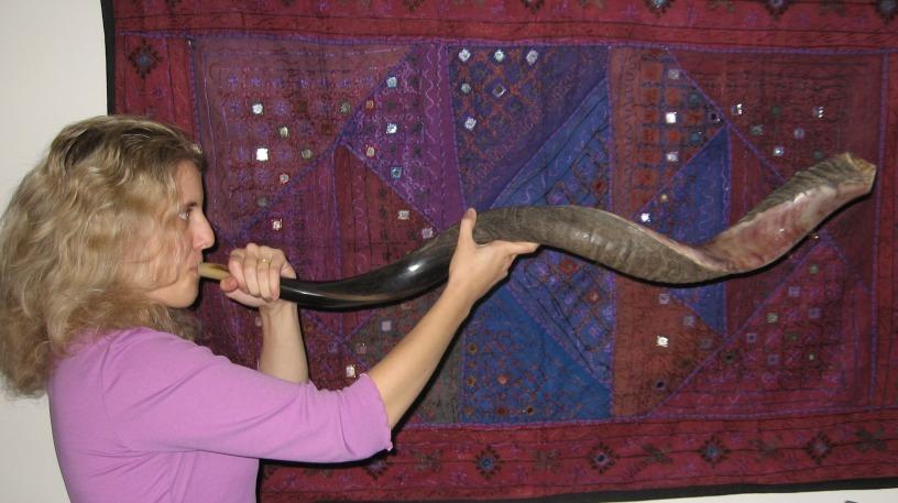 Rabbi Michal Loving blowing Shofar