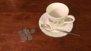 Coffee cup & change