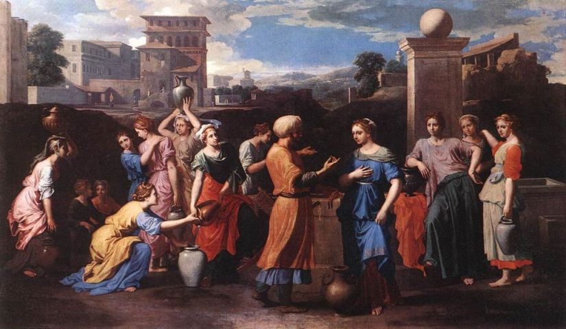 Rebekah at the Well, Poussin, public domain