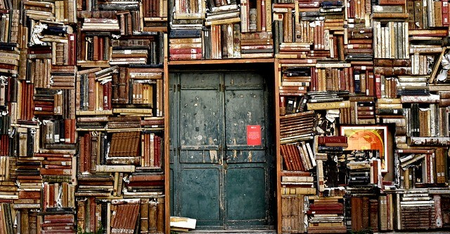 Wall of books surrounding a doorway.